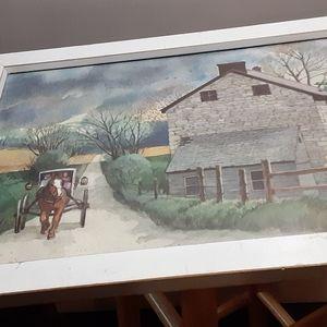VTG FRAME COUNTRY FARM HOUSE SIGNED B.HEPPE RUNGE